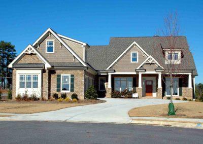 brick house and driveway