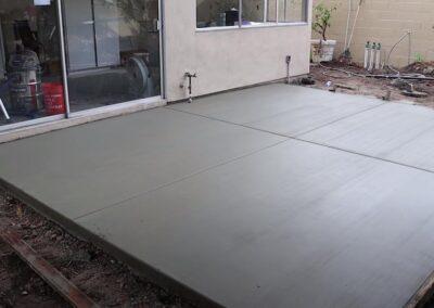 wet concrete patio